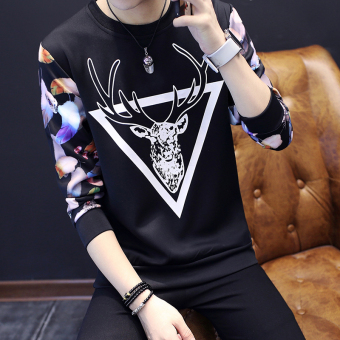 Men's Fashionable Slim Fit Round Neck Long Sleeve Shirt (Triangle deer black)