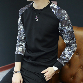 Men's Fashionable Slim Fit Round Neck Long Sleeve Shirt (W36 black)