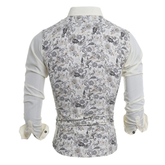 Men's Floral Print Long Sleeve Turn-down Collar POLO Shirt - 2