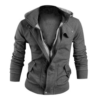Men's Hooded Sweatshirt Sweater Tops Long Sleeve Jacket(Dark Grey)