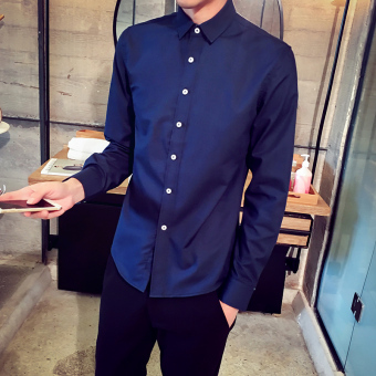Men's Korean-style All-Match Large Size Long Sleeve Thin Shirt (Dark blue color)