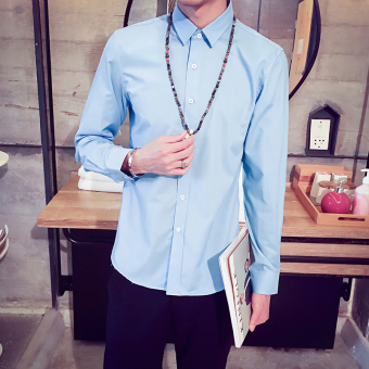 Men's Korean-style All-Match Large Size Long Sleeve Thin Shirt (Sky blue color)