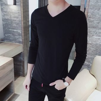Men's Korean-style All-Match Large Size Long Sleeve Thin Shirt (V-neck long-sleeved-black)
