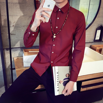 Men's Korean-style All-Match Large Size Long Sleeve Thin Shirt (Wine red color)