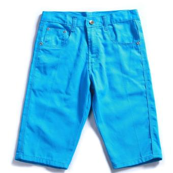 Men's Korean Style Casual Simple Plain Short (Aqua)