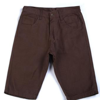 Men's Korean Style Casual Simple Plain Short (Brown)