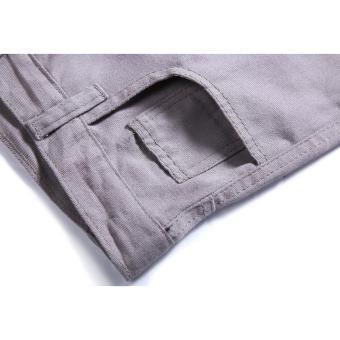 Men's Korean Style Casual Simple Plain Short (Grey) - 3