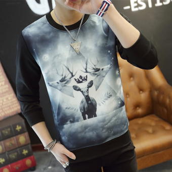 Men's Korean-style Fashionable Slim Fit Long Sleeve Shirt (Three head deer black)