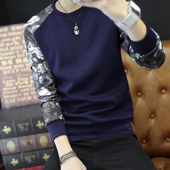 Men's Korean-style Fashionable Slim Fit Long Sleeve Shirt (W36 dark blue)