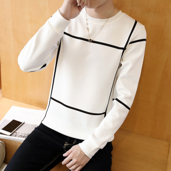 Men's Korean-style Fashionable Slim Fit Long Sleeve Shirt (Well word white)