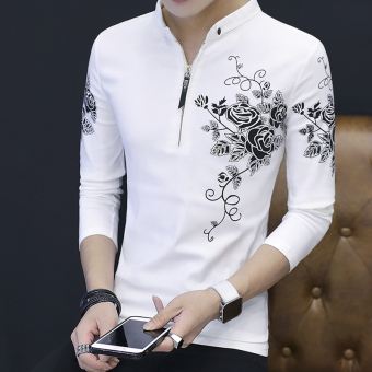 Men's Korean-style Fashionable Slim Fit Long Sleeve Sweater (White)