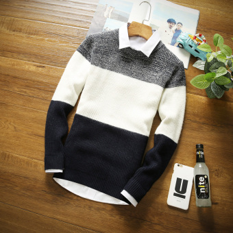 Men's Korean-style Round Neck Knitted Sweater (Dark blue)