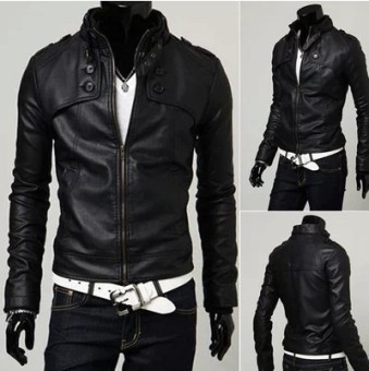 Men's Korean-style Short Stand-Up Collar Black Leather Jacket (Black [ordinary leather])