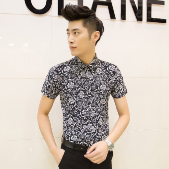 Men's Korean-style Slim Fit Floral Print Short Sleeve Thin Shirt (D02 black)