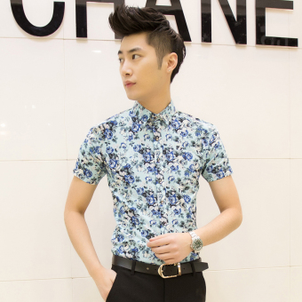 Men's Korean-style Slim Fit Floral Print Short Sleeve Thin Shirt (D05 blue)