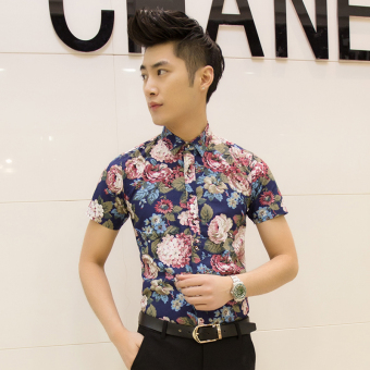 Men's Korean-style Slim Fit Floral Print Short Sleeve Thin Shirt (D06 feet green)