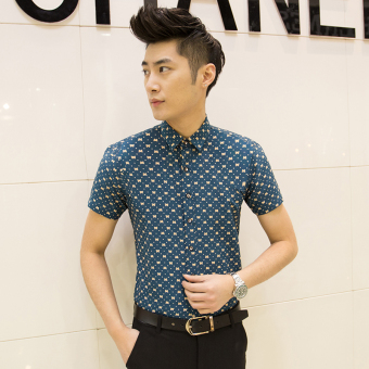 Men's Korean-style Slim Fit Floral Print Short Sleeve Thin Shirt (D11 blue)