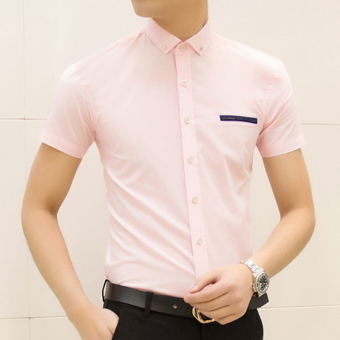 Men's Korean-style Slim Fit Floral Print Short Sleeve Thin Shirt (D19 Powder)