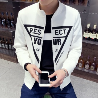 Men's Korean-style Slim Fit Leisure Cardigan Sweater (Your-white)