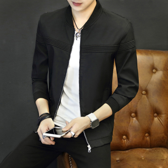 Men's Korean-style Slim Fit Thin Jacket (Black)
