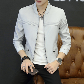 Men's Korean-style Slim Fit Thin Jacket (Light gray)