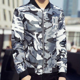 Men's Korean-style Stand-Up Collar Camouflage Baseball Uniform (Air Force white)