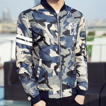 Men's Korean-style Stand-Up Collar Camouflage Baseball Uniform (Navy blue)