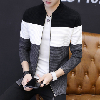 Men's Korean-style Striped Knitted Cardigan Jacket (Black)