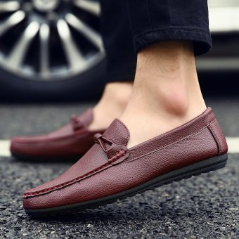 Men's Leather British style Loafer Shoes Korean Driving Shoes Maroon - INTL