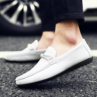 Men's Leather British style Loafer Shoes Korean Driving Shoes White - INTL