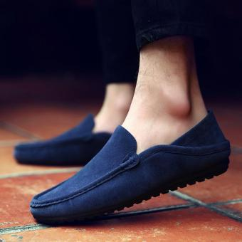 Men's Leather Casual Loafer Shoes Light Driving Shoes Blue - intl