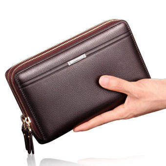 Men's Leather Double Zip Clutch ID Card Holder Checkbook Business Wallet Purse Brown - intl