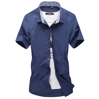 Men's Leisure Large Size Short Sleeve Thin Shirt (Dark blue color)