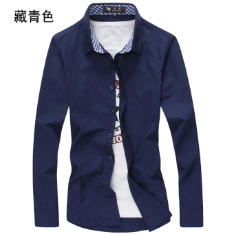 Men's Leisure Large Size Short Sleeve Thin Shirt (Long-sleeved dark blue color)