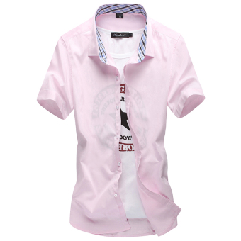 Men's Leisure Large Size Short Sleeve Thin Shirt (Pink)