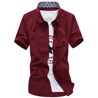 Men's Leisure Large Size Short Sleeve Thin Shirt (Wine red color)
