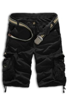 Men's Loose Fit Camouflage Military Cargo Shorts Without Belt (Black) (Intl)
