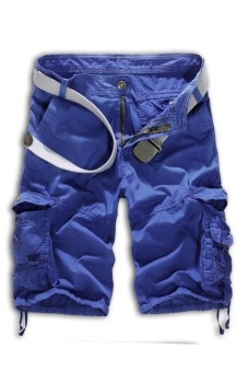 Men's Loose Fit Camouflage Military Cargo Shorts Without Belt (Blue) (Intl)