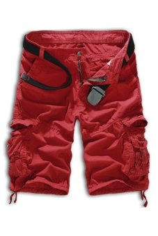 Men's Loose Fit Camouflage Military Cargo Shorts Without Belt (Wine) (Intl)