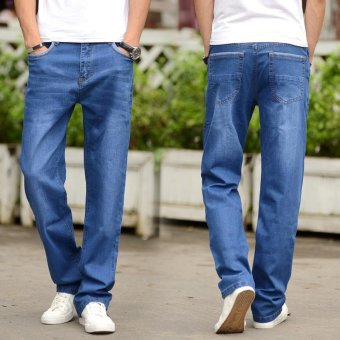 Men's Loose Straight Jeans Fat Legging Plus Size Thin Denim Pants Large Men Jeans Waist 42 44 Plus Size Jeans - intl