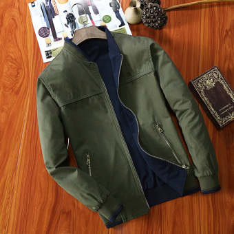 Men's Loose Thin Reversible 100% Cotton Jacket (Dark green color)