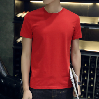 Men's Minimalist Round Neck Half Sleeve Solid Color T-Shirt (LOOESN models short sleeved red)