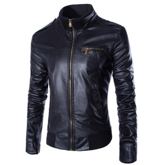 Men's New Fashion Faux Leather Biker Jacket (Black) - intl