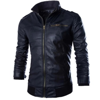 Men's PU Leather Jacket Men's Leather Jacket for Men's Wear - intl