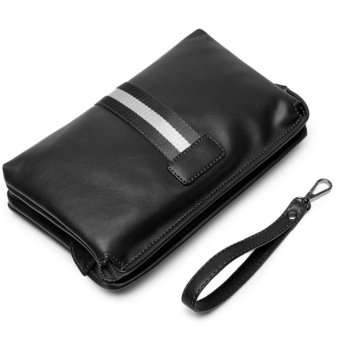 Men's Retro Leather Clutch Hand Bag Business Handbag Envelope Metrosexual Casual Mobile Phone Bag(black) - intl