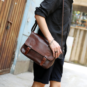 Men's Retro Zipper Crossbody Messenger Bag (Deep PARK'S)