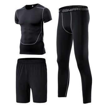 Men's Running Training Short Sleeve Quick Dry 3-piece Set (3 sets of pants)