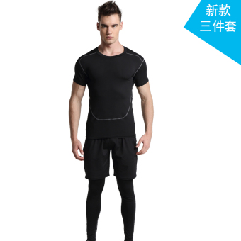 Men's Running Training Short Sleeve Quick Dry 3-piece Set (New Style 3 piece)