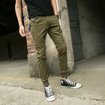Men's Slim fit straight ankle-length pants summer casual pants (Dark green color)