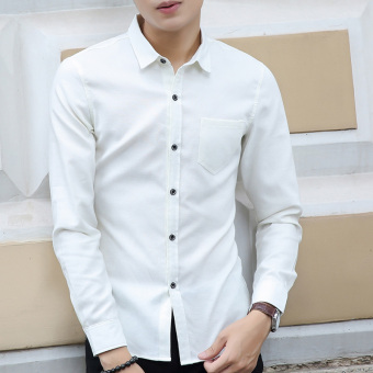 Men's Solid Long Sleeve Cotton?Work Dress Shirts White